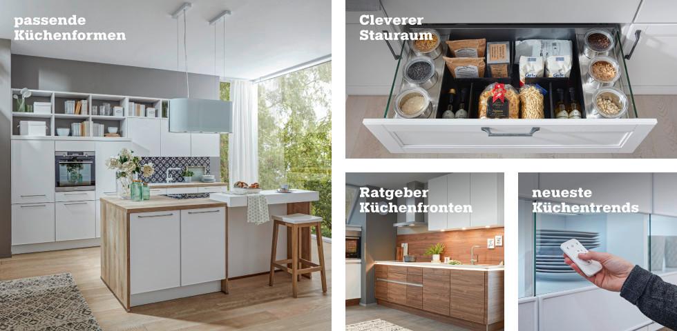 passende Küchenformen, cleverer Stauraum, Ratgeber Küchenfronten, neueste Küchentrends