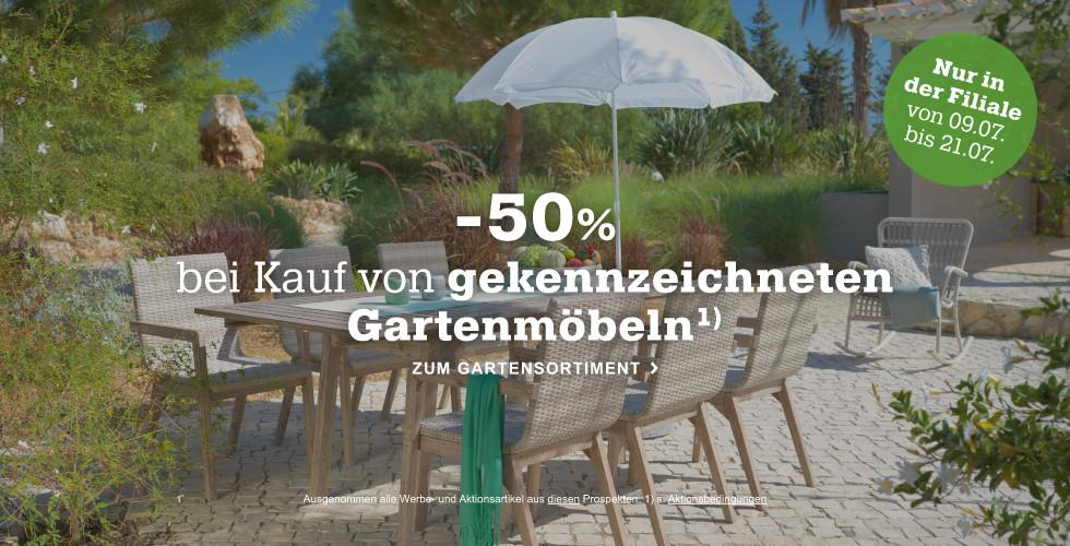 50% auf ausgewählte Gartenmöbel - Jetzt in Ihrer mömax Filiale!