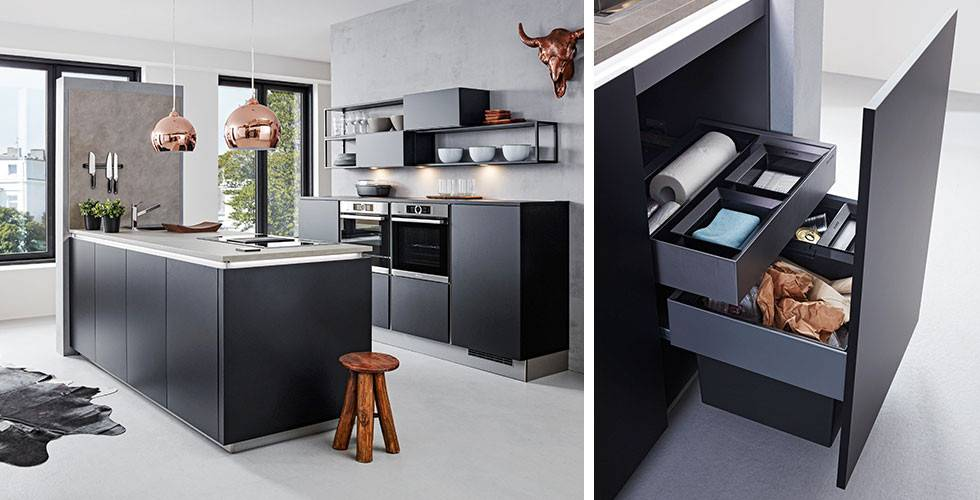 Verstecktes Abfallsystem in edler, moderner Küche bei mömax
