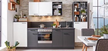 Küchenblock Mit Elektrogeräten Mit Grauen Und Weißen Fronten