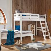 Etagenbett in weiß mit Leiter