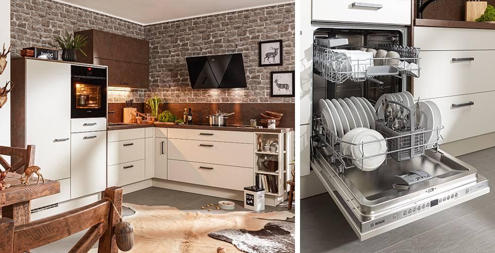Eckküche in Weiß und Bronze mit schwarzem wandmontierten Dunstabzug von mömax. | Offener Geschirrspüler, vollintegriert in Einbauküche mit weißer Front, von mömax.