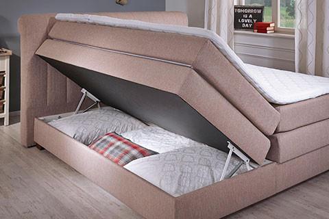 Schlafzimmer Betten Features Boxspringbett Creme Bettkasten moemax