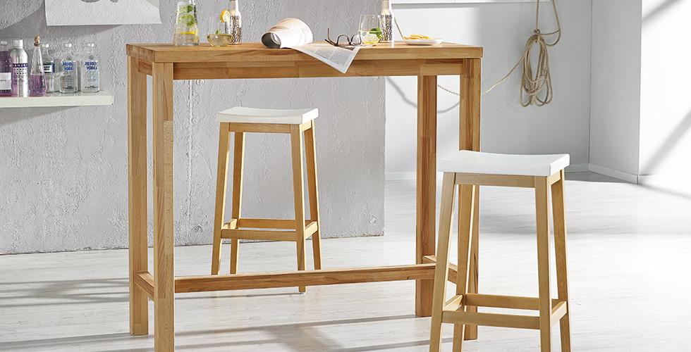 Barhocker mit Tisch aus Kernbuchenholz im Skandinavischen Stil von mömax.