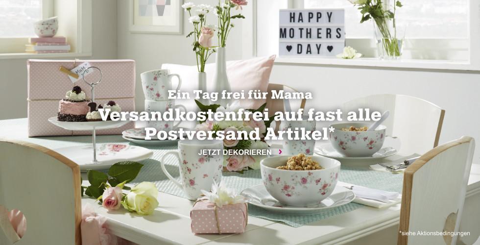 Ein Tag frei für Mama - kaufen Sie jetzt alle nötigen Utensilien für Muttertag ohne Postversandkosten!