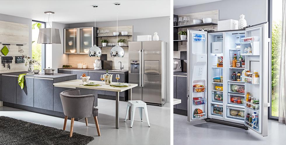 Küche in Grau mit großem Side-by-Side Kühlschrank für extra viel Platz.