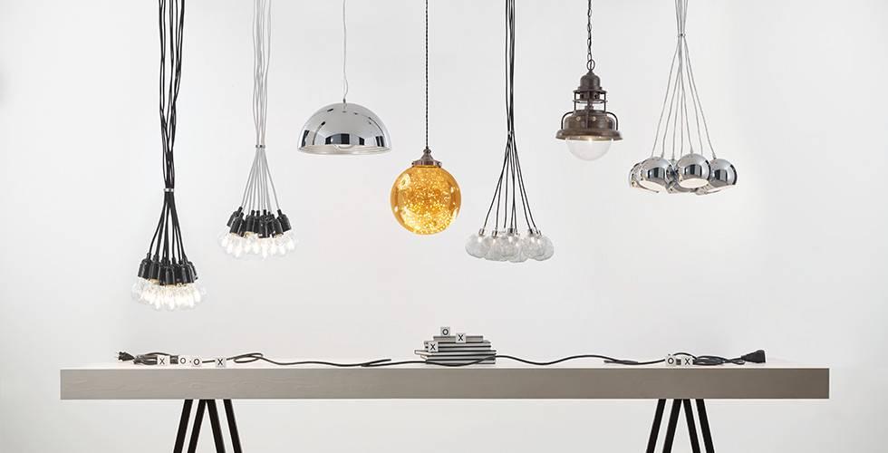 Moderne LED-Hängeleuchten, Bernstein, Kugel, als Kombination oder einzeln.