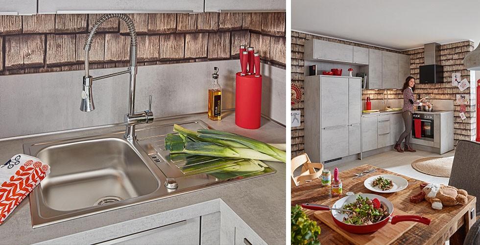 Spüle in Edelstahl-Optik, Küche in Stein-Optik, bei mömax.