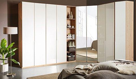 Schlafzimmer-Eckschrank-Drehtür-Spiegel-Stauraum-Weiss-Eichefarben-moemax
