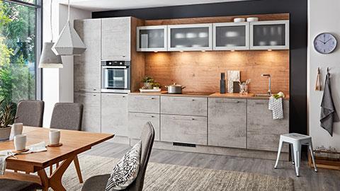 Küchenblock in Holz- und Beton-Optik von mömax.