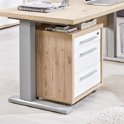 Rollcontainer unter Schreibtisch in Holzoptik mit weißen Schubladen