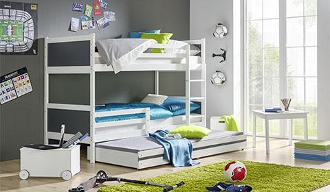 Etagenbett Weiß Für Kinder : Kinder etagenbett weiß massiv timo inklusive farbvorhang lila beige