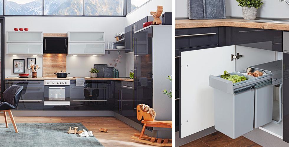 Praktisches Abfallsystem, unsichtbar, in Hochglanz-Küche