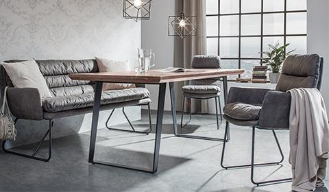 Gemütlich gepolsterte Sitzbank in grauen Lederlook günstig kaufen bei mömax.
