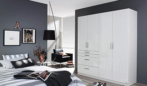 Drehtürenschrank in Hochglanz-Weiß mit vier Türen von mömax.