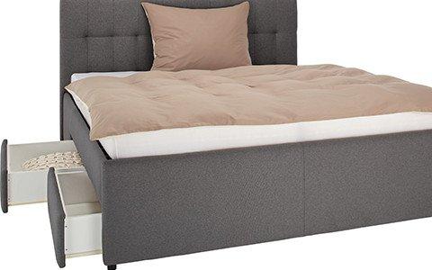 Schlafzimmer-Polsterbett-Stoffbezug-Grau-Stauraum-Bettkasten