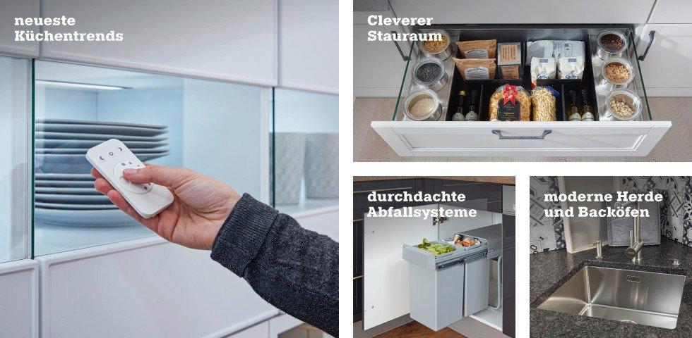 neueste Küchentrends, cleverer Stauraum, durchdachte Abfallsysteme, modernen Herde und Backöfen