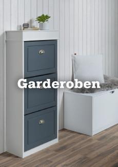 Garderobenschrank in weiß mit Fronten in Anthrazit auf Holzboden