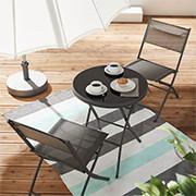 Balkonmöbelset aus 2 Stühlen und einem Tisch in schwarz