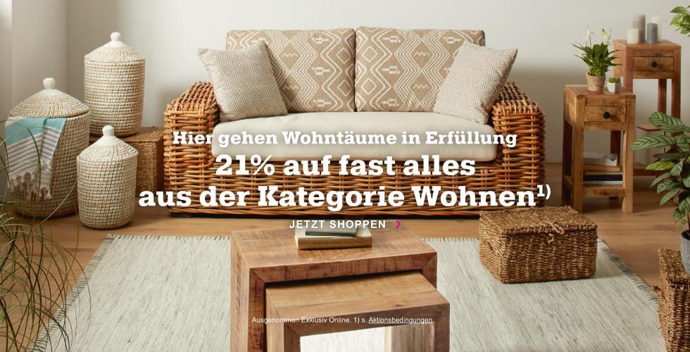 Hier gehen Wohnträume in Erfüllung: Sparen Sie jetzt 21% auf viele Artikel aus der Kategorie Wohnen!