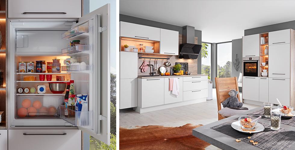 Moderne Planungsküche mit eingebauten Kühlschrank inklusive Gefrierfach von mömax.