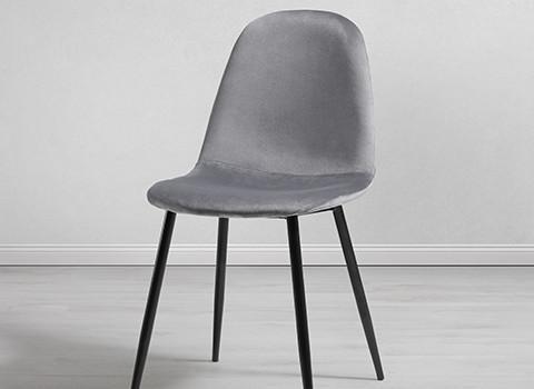 Esszimmerstuhl-Lio-Samtbezug-Metallbeine-schwarz-grau