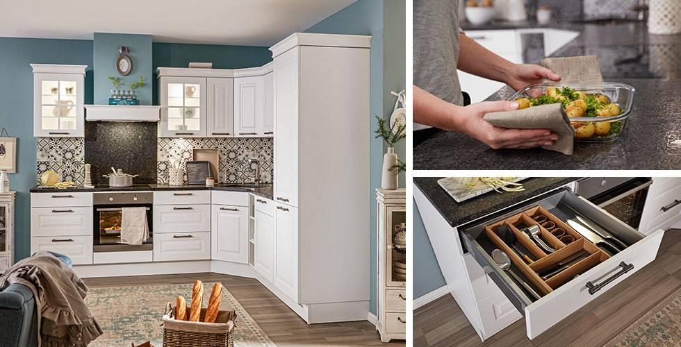 Trendige Küche, weiß, im Landhausstil. Arbeitsplatte aus Stein.