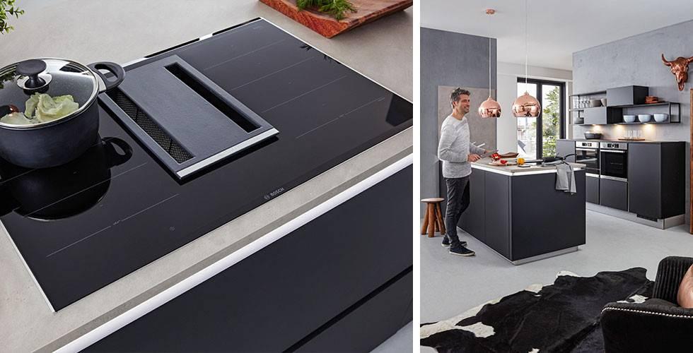 Moderne Tischhaube als Dunstabzug in trendigem Design.