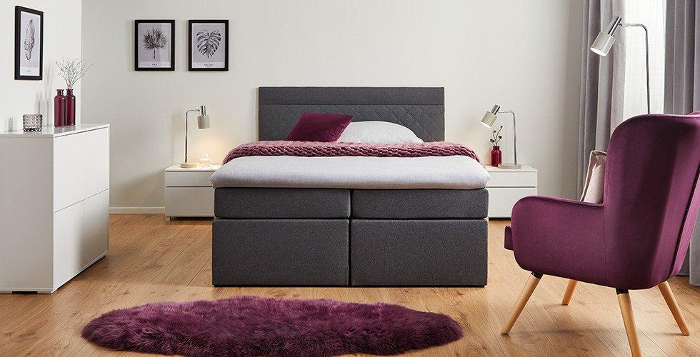 Schlafzimmer-Boxspringbett-Dunkelgrau-Schaumstoffkern-Bonellfederkernmatratze-Topper-moemax