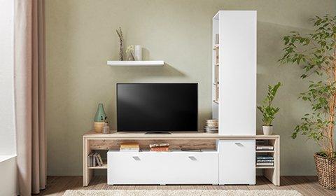 Platzsparende Wohnwand in Weiß und Kieferfarben mit ausreichen Stauraum günstig kaufen bei mömax.