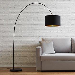 Stehlampe mit gebogenen Gestell und lackiert in schwarz günstig kaufen bei mömax.