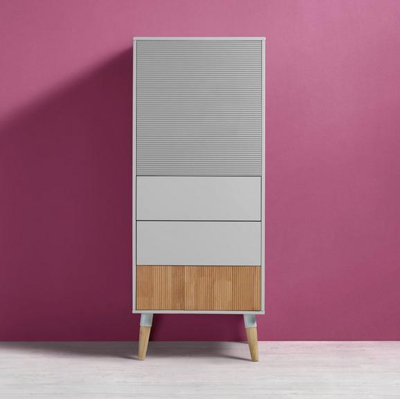 Highboard Evlyn - Naturfarben/Weiß, MODERN, Holz/Metall (55/136/45cm) - Modern Living