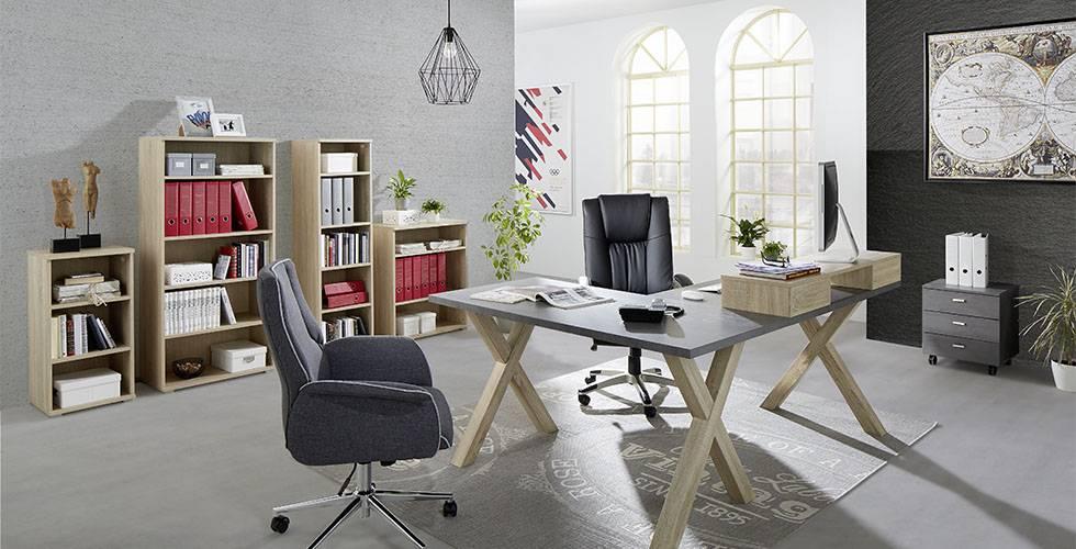 Schlichtes Arbeitszimmer mit Schreibtisch, Regalen und Rollcontainer in Graphitfarben und Braun von mömax.