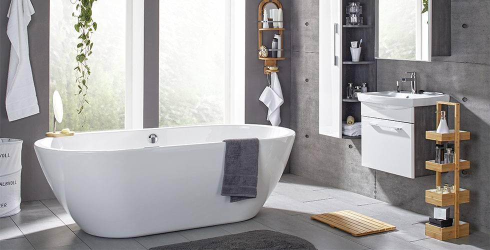 Badezimmer in Weiß und Grau in Hochglanz, günstig kaufen bei mömax.