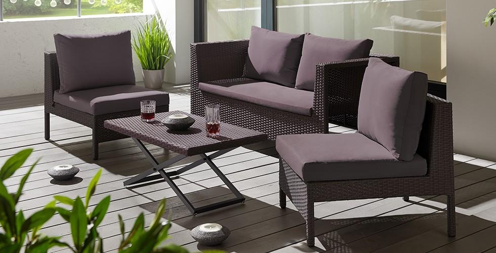 Loungegarnitur-Vivia-Loungetisch-Kunststoffgeflecht-dunkelgrau-Stahlgestell-Rückenkissen