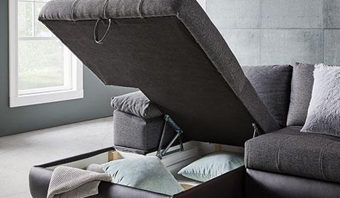 Sofa Stoffbezug Grau Stauraum New