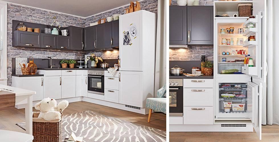 Landhausstil-Kühlschrank in Weiß und Dunkelgrau, großer Gefrierschrank