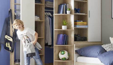 Pohištvo za otroško sobo: omare, regali in predalniki