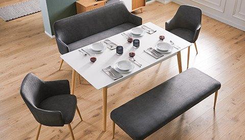 Esstisch-Sitzbank-Sessel-Esszimmer-Grau-Stoff-Holz
