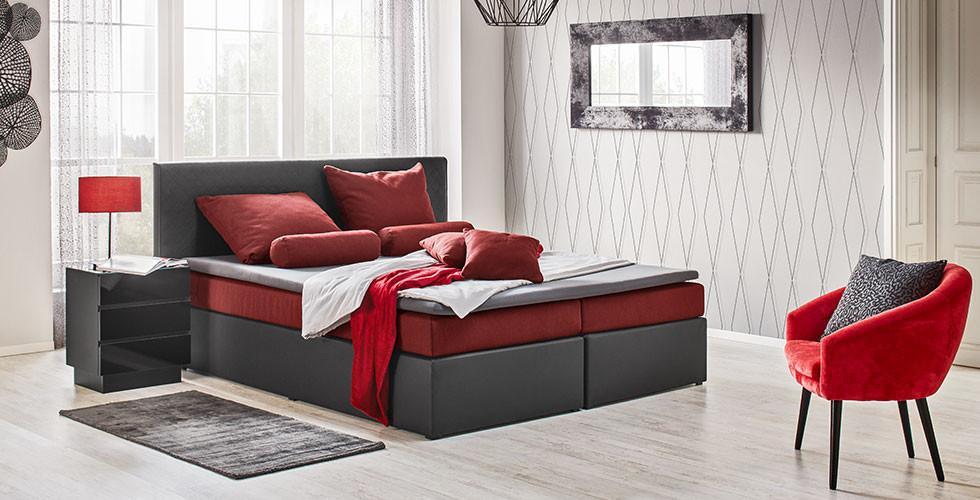 Boxspringbett 180x200 cm, im Leder-Look in den Kontrastfarben Dunkelrot und Schwarz, von mömax