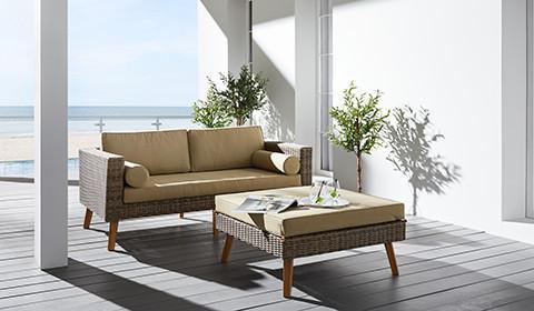 Schickes Loungesofa aus Polyrattan in Braun von mömax.