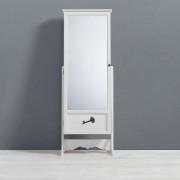 Schmuckschrank mit Spiegel weißfarbig im Landhausstil