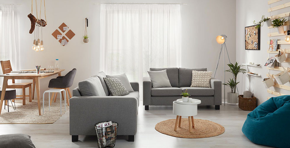 Wohnzimmer mit 2 grauen Sofas