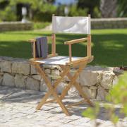 Regie-, Gartenstuhl aus Holz mit hellem Textilbezug
