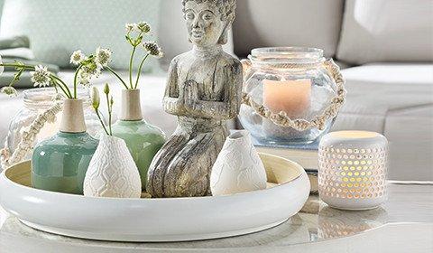 Dekotablett aus Bambus in Weiß und Natur von mömax.