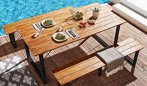 Tisch mit einer Tischplatte aus Akazienholz sowie Füßen aus Metall in Schwarz günstig kaufen bei mömax.