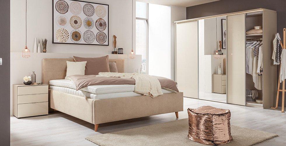 Schlafzimmer-Polsterbett-Creme-Kopfstütze-Eichenholz