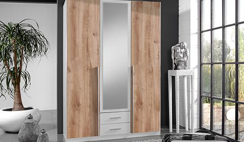 Drehtürenschrank in Weiß mit Eichenfront sowie einer Spiegelfront und Schubladen von mömax.
