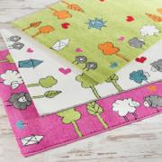 Kinderteppiche in weiß, grün und rosa