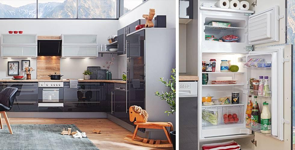 Edler Kühlschrank und Küche in Dunkelgrau